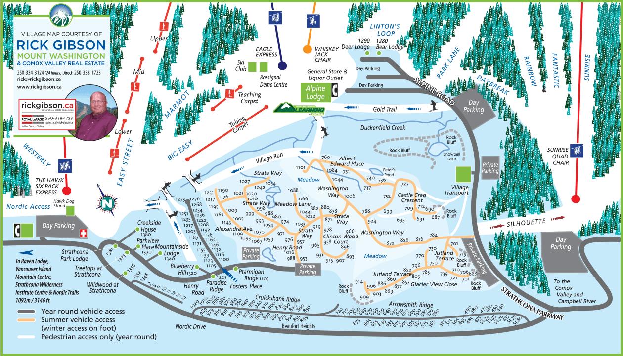 Mount Washington Accommodation: Village Map